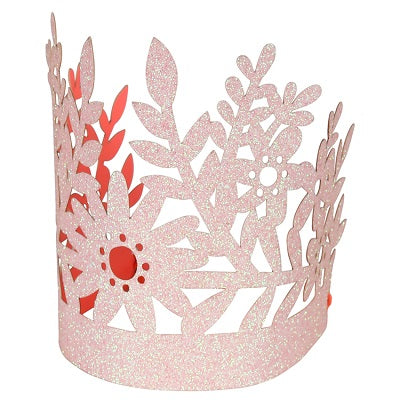 Pink Floral Princess Crowns (8 pack)