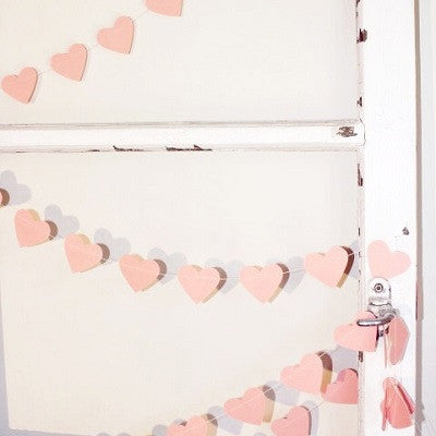 Pink Hearts Paper Garland