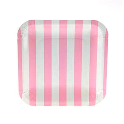 Pale Pink Striped Square Plates (12 pack)
