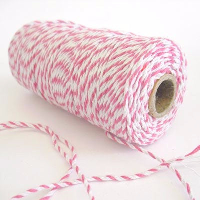Pale Pink & White Bakers Twine (100m)