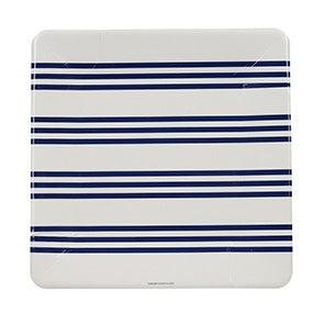 Navy French Stripe Large Plates (12 pack)
