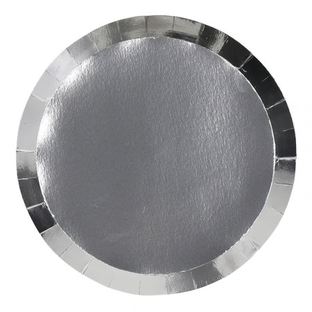 Metallic Silver Dinner Plates (10 pack)