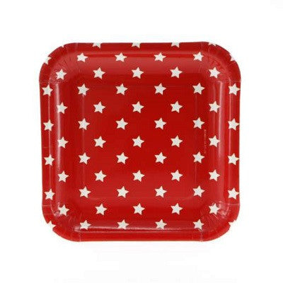 Red Star Square Plates (12 pack)