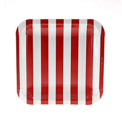 Red Striped Square Plates (12 pack)