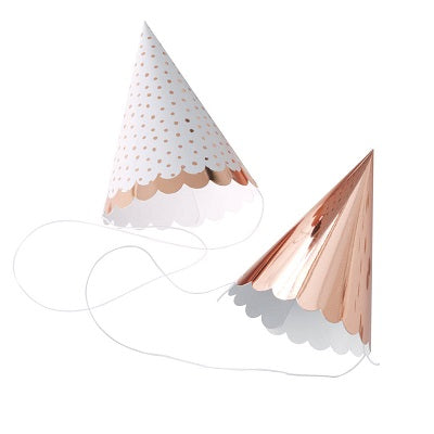 Rose Gold Mini Party Hats (6 pack)