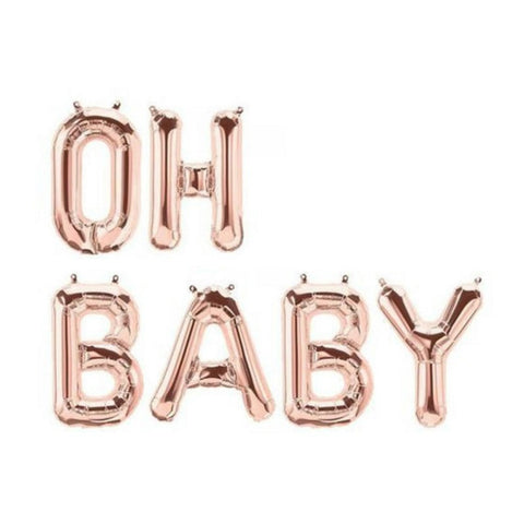 Rose Gold 'OH BABY' Balloons