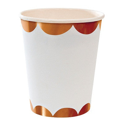 Rose Gold Scalloped Cups (8 pack)