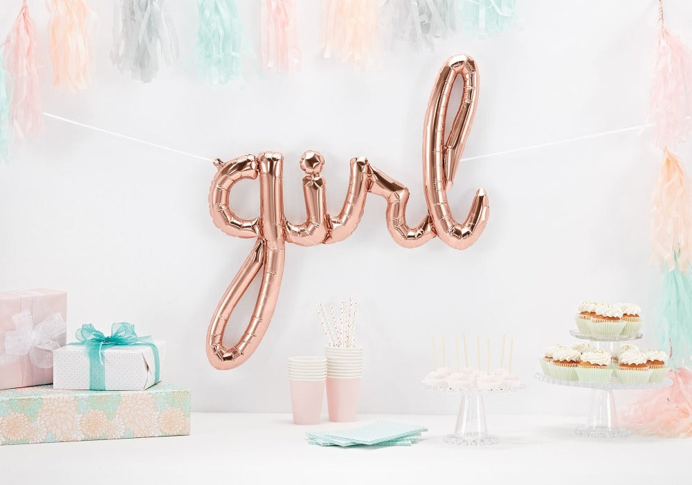Rose Gold 'GIRL' Script Balloon