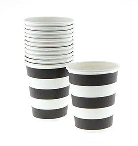 Black Striped Cups (12 pack)