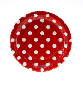 Red Polka Dot Dessert Plates (12 pack)