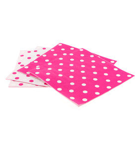 Raspberry & White Polka Dot Paper Napkins (20 pack)