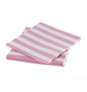 Pink Striped Paper Napkins (20 pack)