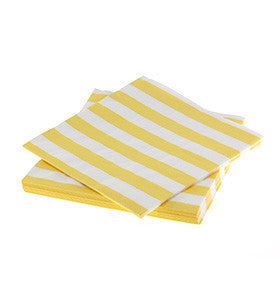 Yellow Striped Paper Napkins (20 pack)
