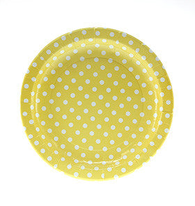 Yellow Polka Dot Plates (12 pack)