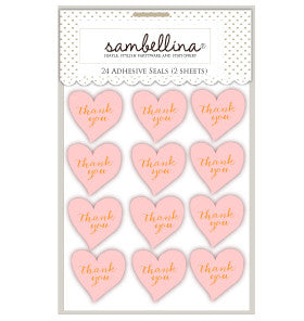 Pale Pink Heart Thankyou Stickers (24 pack)
