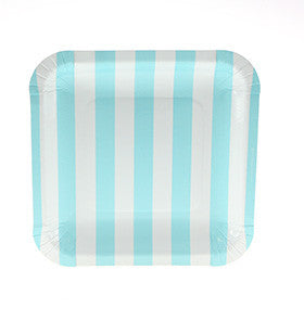 Pale Blue Striped Square Plates (12 pack)