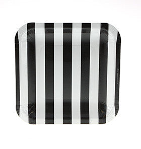 Black Striped Square Plates (12 pack)