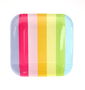 Rainbow Striped Square Plates (12 pack)