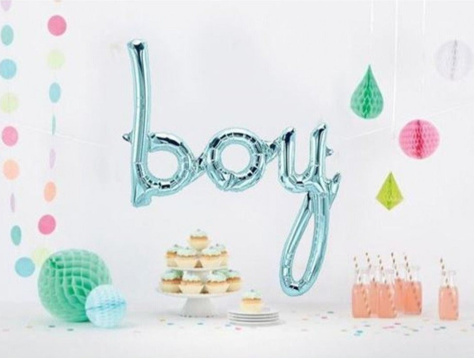 Blue 'BOY' Script Balloon