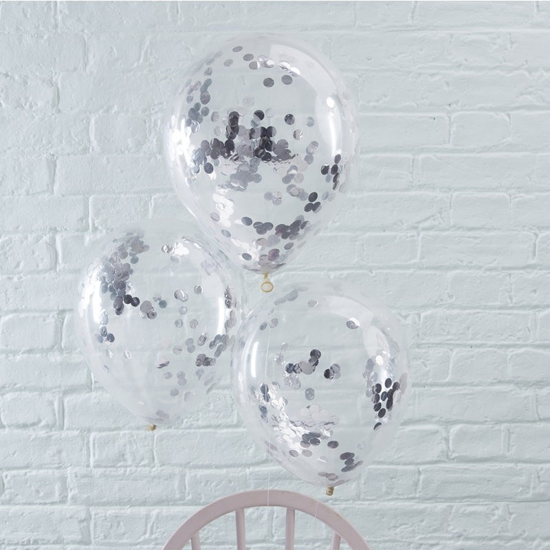 Silver Confetti Balloons (5 pack)