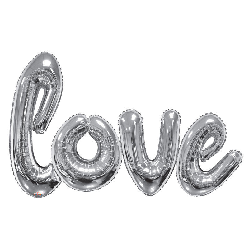 Silver Giant 'LOVE' Script Balloons