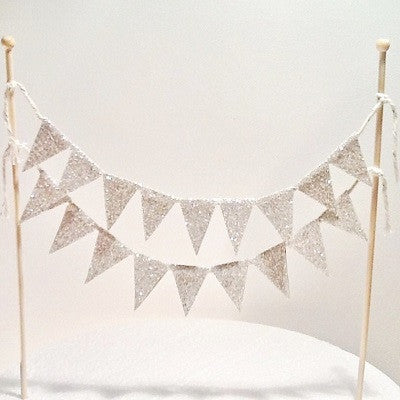 Silver Glitter Flags Cake Topper