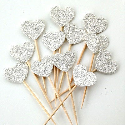 Silver Glitter Heart Cupcake Toppers (12 pack)