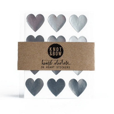 Silver Heart Stickers (36 pack)