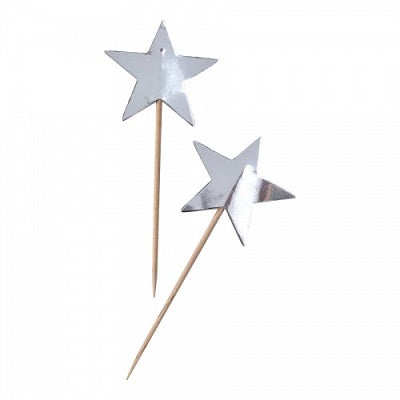 Silver Star Cupcake Toppers (10 pack)