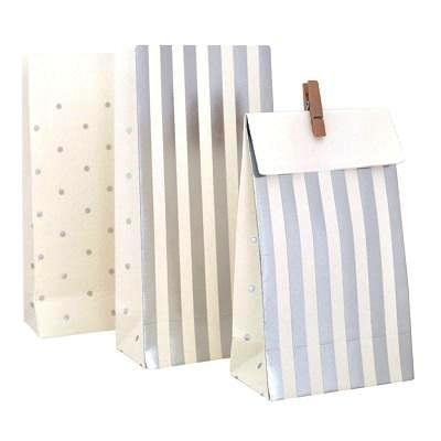 Silver Stripes & Dots Treat Bags (10 pack)