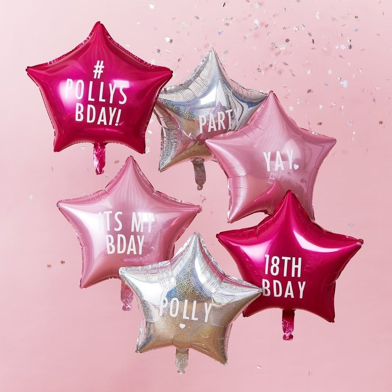 Star Balloons with Personalisable Stickers (6 pack)