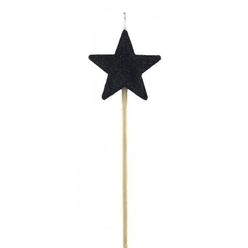 Black Glitter Star Candle