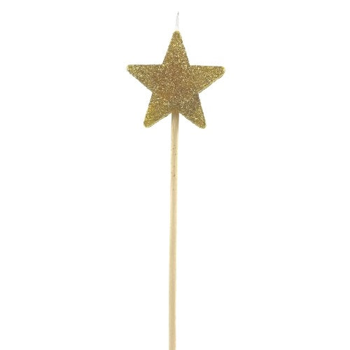 Gold Glitter Star Candle