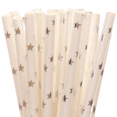 Silver Foil Star Straws (25 pack)