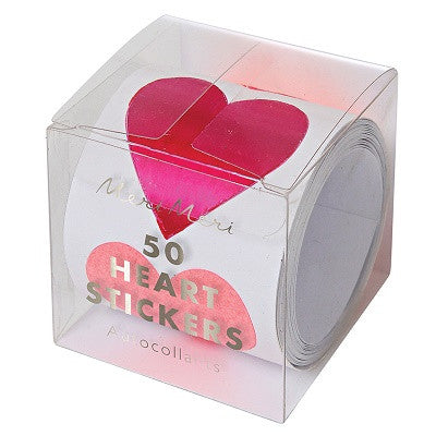 Pink Heart Stickers (50 roll)