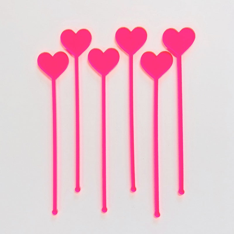 Neon Pink Heart Drink Stirrers (6 pack)