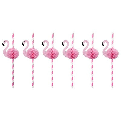 Flamingo Honeycomb Straws (12 pack)