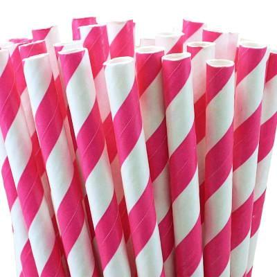 Hot Pink Striped Straws (25 pack)