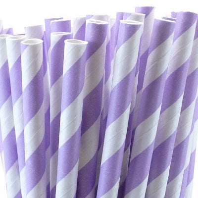 Lilac Striped Straws (25 pack)