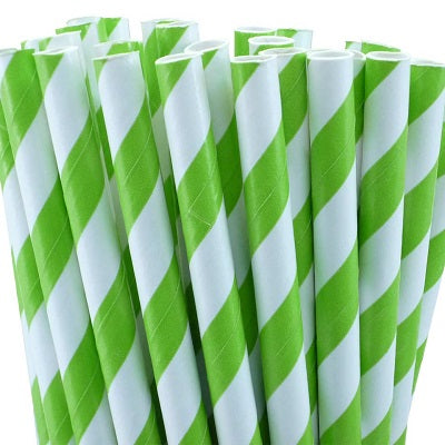Lime Green Striped Straws (25 pack)
