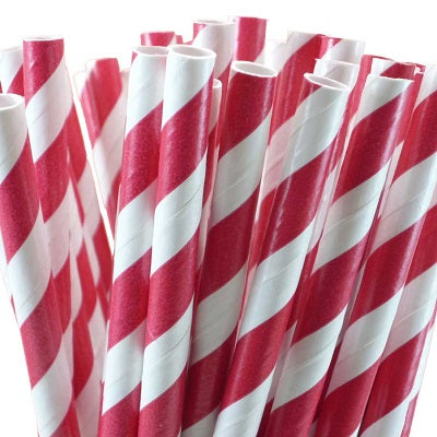 Red Striped Straws (25 pack)