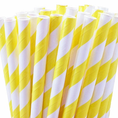 Yellow Striped Straws (25 pack)
