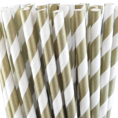 Gold Striped Straws (25 pack)