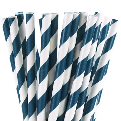 Navy Blue Striped Straws (25 pack)