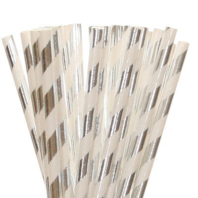 Silver Foil Striped Straws (25 pack)