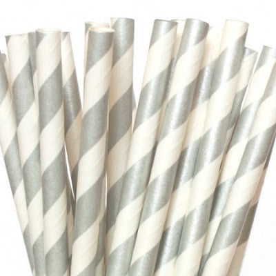 Silver Striped Straws (25 pack)