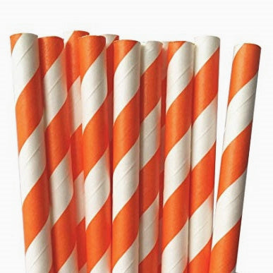 Orange Striped Straws (25 pack)