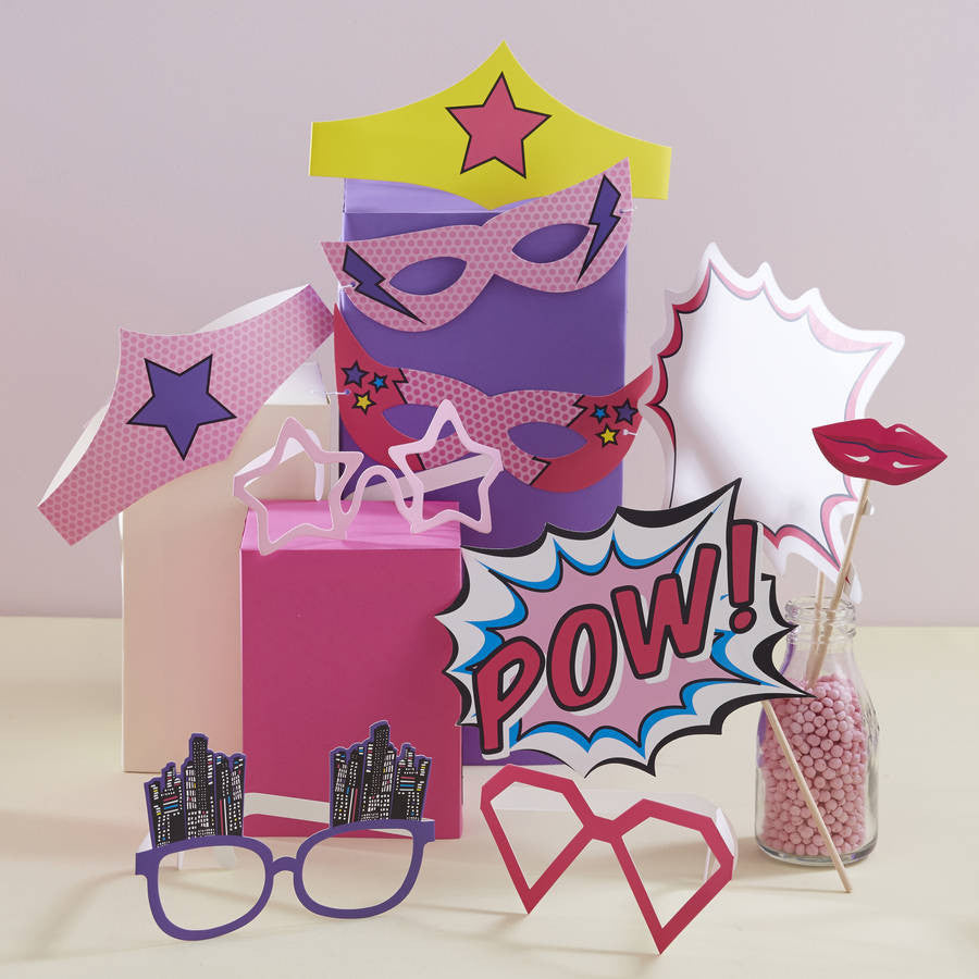 Pink Superhero Photo Booth Props (10 pack)
