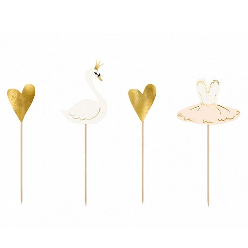 Lovely Swan Cake Toppers (4 pack)
