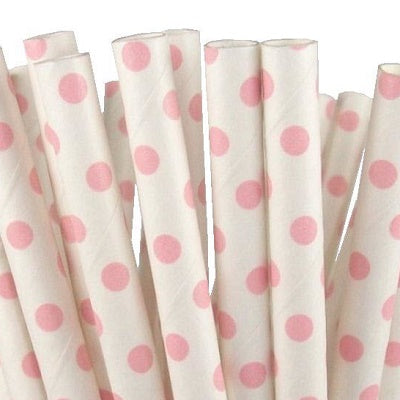 Pale Pink Dot Straws (25 pack)